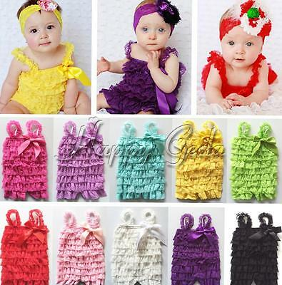 Baby Girls Cute Lace Ruffles One-Piece Photo Prop Romper Jumpsuit SZ 3-24 Months