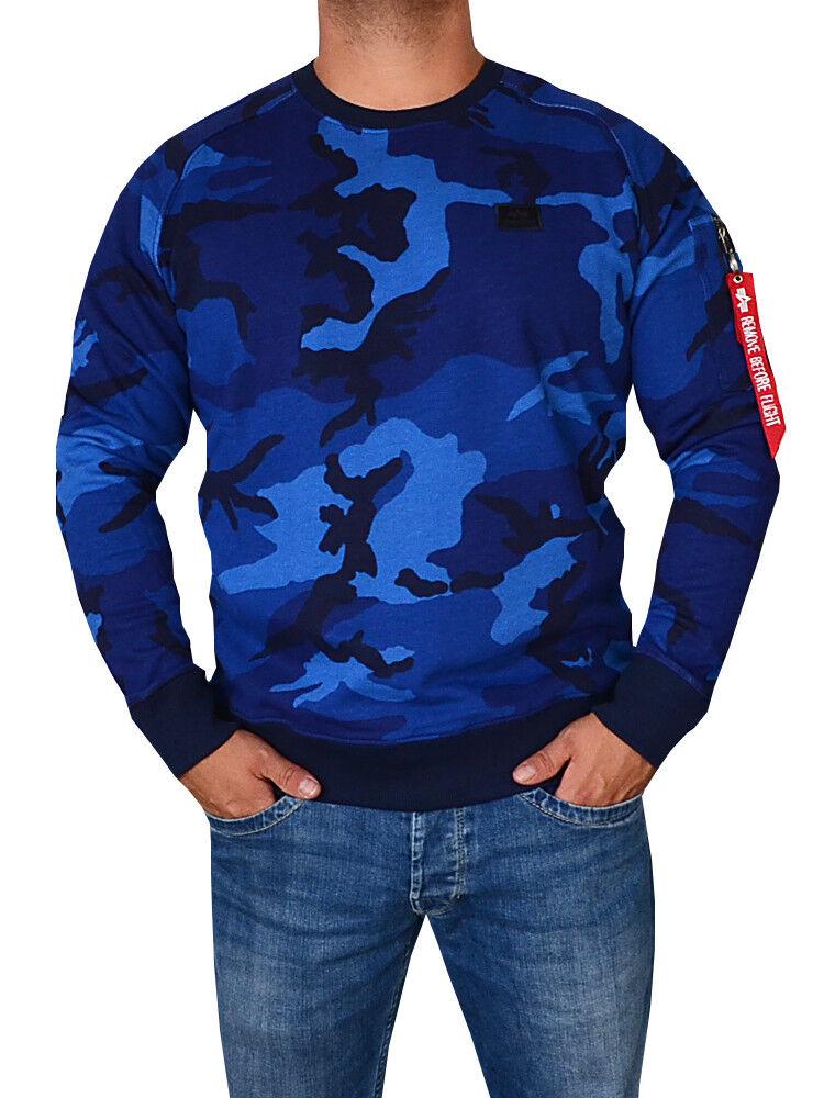 Alpha Industries Pullover Sweatshirt X-Fit blau camo camouflage M L XL XXL XXXL