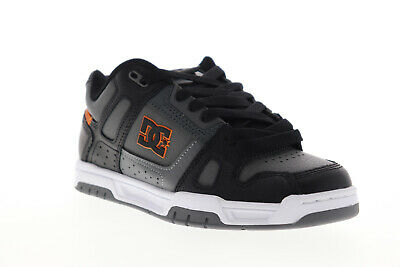 DC Stag 320188 Mens Gray Leather Lace Up Athletic Skate Shoes