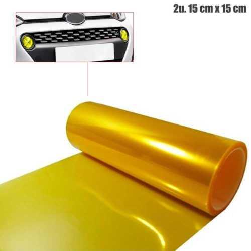 2x Klebstoff Folie Scheinwerfer Toenung Vinyl Auto Nebel Fog 15cm x 15cm Gelb