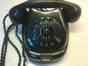 Antique Telephone TESLA black bakelite.