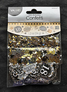 Image Is Loading 18th Birthday Confetti Table Decoration Sprinkle Black Silver