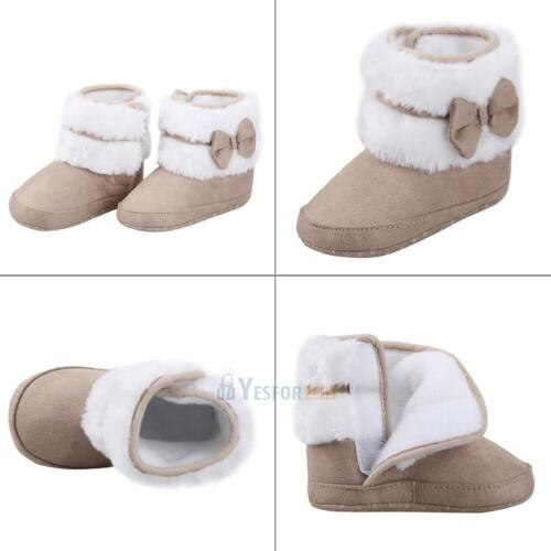 Newborn Baby Infant Toddler Bowknot Girl Snow Boots Crib Shoes Prewalker Booties