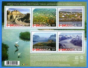 2015-Canada-2857-UNESCO-World-Heritage-Sites-Souvenir-Stamp-Sheet-Mint-NH