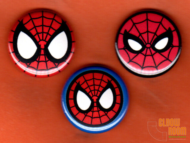 Set Of Three 1 Spiderman Mask Pins Buttons Marvel Symbol Spider Man