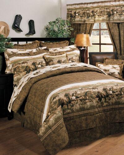 Cabin Ranch Lodge Western Theme 4 Pc King Comforter Bedding Set Wild Horses