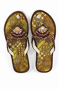 Batik-Fabric-Flat-Women-Shoes-Green-With-Glittering-Beads