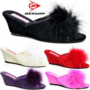 e9d8c60f4cc2 Women Ladies Dunlop Slippers Faux Suede Wedge Pom Pom Fur Wedge Peep ...