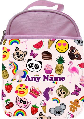 Personalised Unicorn Flamingo emojis Enfants École Isolé lunchbox Lunch