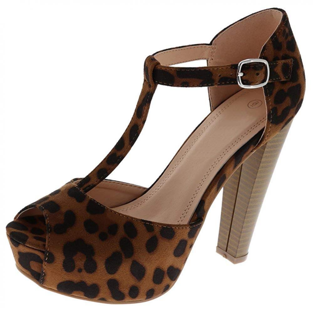 Cambridge Select Women's Peep Toe T-Strap Platform High Heel Sandal