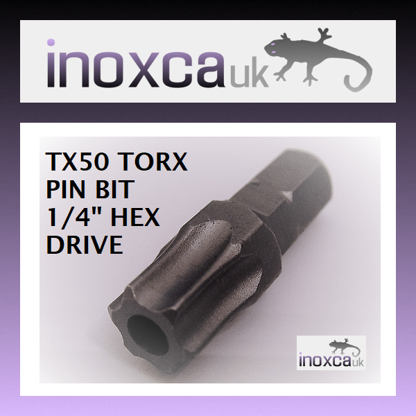 12 @ T50 TX50 TORX PIN SECURITY HEXAGONAL BITS 1 4  HEX DRIVE WITH HOLE FOR PIN