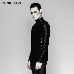 Gothic-Black-Rock-Personality-Bandage-Men-Steampunk-Motocycle-Street-T-shirt-Top