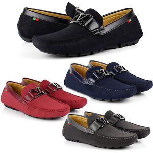 Mens-Slip-On-Leather-Loafers-Driving-Shoes-Casual-Smart-Moccasin-Size