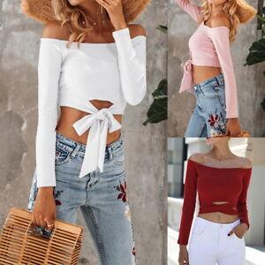Sexy-Ladies-Off-Shoulder-Bandeau-Crop-Top-Casual-Long-Sleeve-T-shirt-Slim-Blouse
