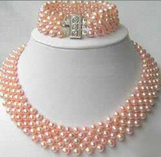 Genuine Pink White Pearl 18KWGP Clasp Necklace