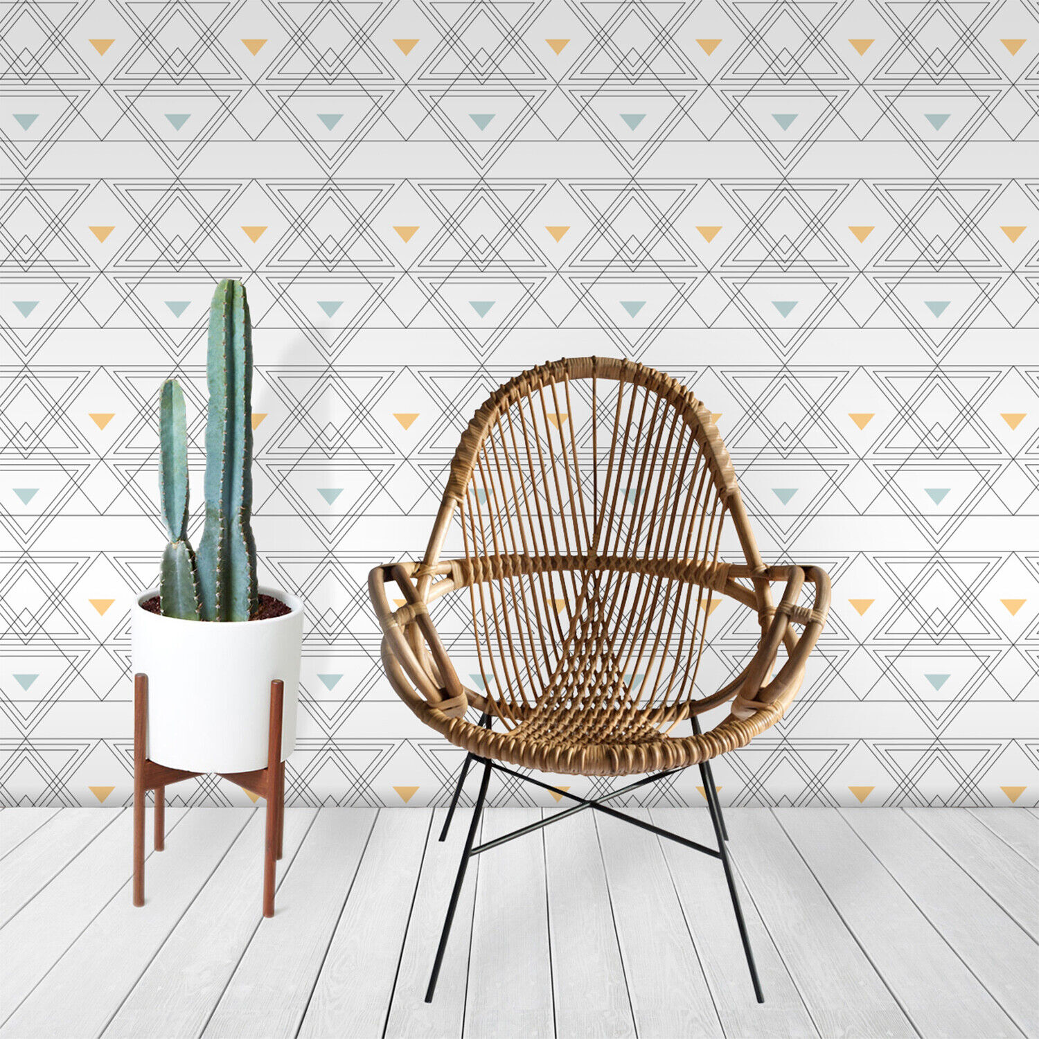 Abstract triangles pattern minimalistic Weiß muted Farbes Non-Woven wallpaper