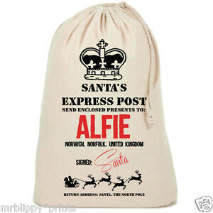 Personalised-Christmas-Vintage-Style-Express-Post-Santa-Sack-Gift-Stocking