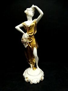 Figurine-Porcelain-Zaccagnini-Years-50-Vintage-White-Gold-Woman-Grape