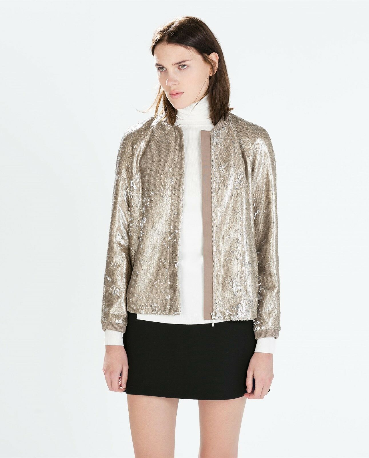 Veste bomber or doré ZARA - XS 34 - Neuf 8077 138 - SOLD OUT Sequins paillettes