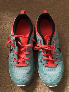 new style 24cb2 78e76 Image is loading Womens-Nike-Flyknit-Lunar-1-Turquoise-and-Wolf-