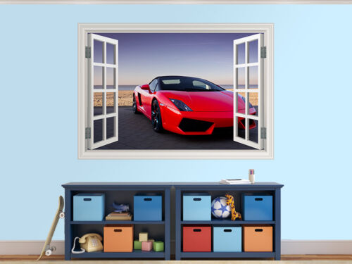 13716412ww Expensive red sports car photo window wall sticker wall mural