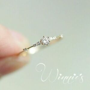 Simple-18K-Yellow-Gold-Filled-White-Sapphire-Ring-Wedding-Bridal-Women-Jewelry