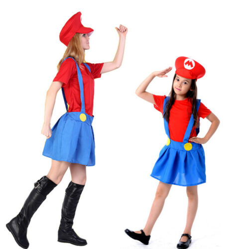 Mario Luigi Costumes Super Plumber Bros Adult Womens Girl Halloween Dress Sbox1
