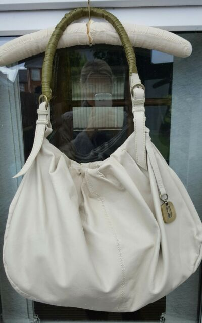 Betty Jackson Cream Green Trim Leather Bag Medium Large