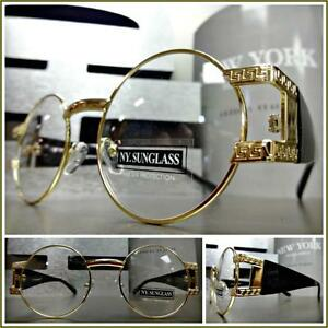d75a680563 Mens CLASSIC VINTAGE RETRO Style Clear Lens EYE GLASSES Round Gold ...