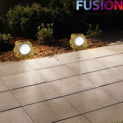 Led Garden Rock Light Solar Powered Walkway Path Landscape Patio Stone Spotlight