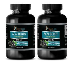ACAI Berry 1200mg - Heart Health. Boosts Immune System (2 Bottles, 120 Capsules)