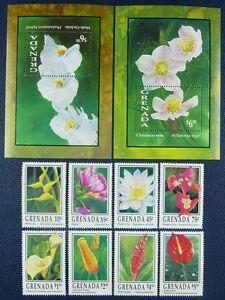 Grenade 1993 Fleurs Flowers Fleurs Blossoms Plantes 2549-56 + Bloc 332-333 Neuf Sans Charnière-afficher Le Titre D'origine