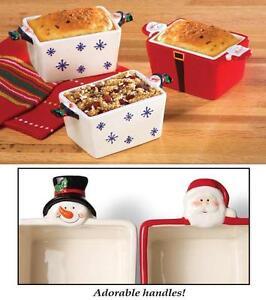 Set Of 3 Christmas Holiday Snowman Amp Santa Ceramic Mini