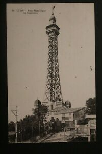 Tarjeta-Postal-Antigua-1920-Lyon-la-Torre-Metallique-Fourviere
