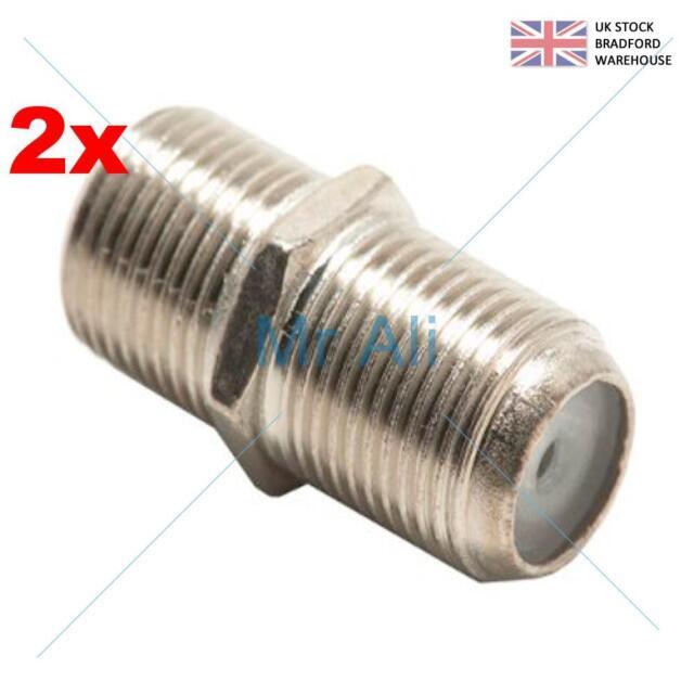 2 X Joiner Barrel Connector F Plug Coupler Adaptor Sky HD TV Twin RG6 Coax Cable