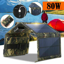 80W USB Solar Panel Folding Power Bank Outdoor Hiking Camping Phone Charger New