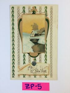 C.1910 A Happy New Year House on bridge Embossed OLD Vintage Postcard ZP-5