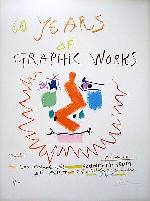 PABLO PICASSO Hand Signed 1966 Original Color Lithograph, Edition of 100