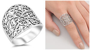 Sterling-Silver-925-FLORAL-VINES-WITH-HEART-DESIGN-SILVER-RING-21MM-SIZES-5-12