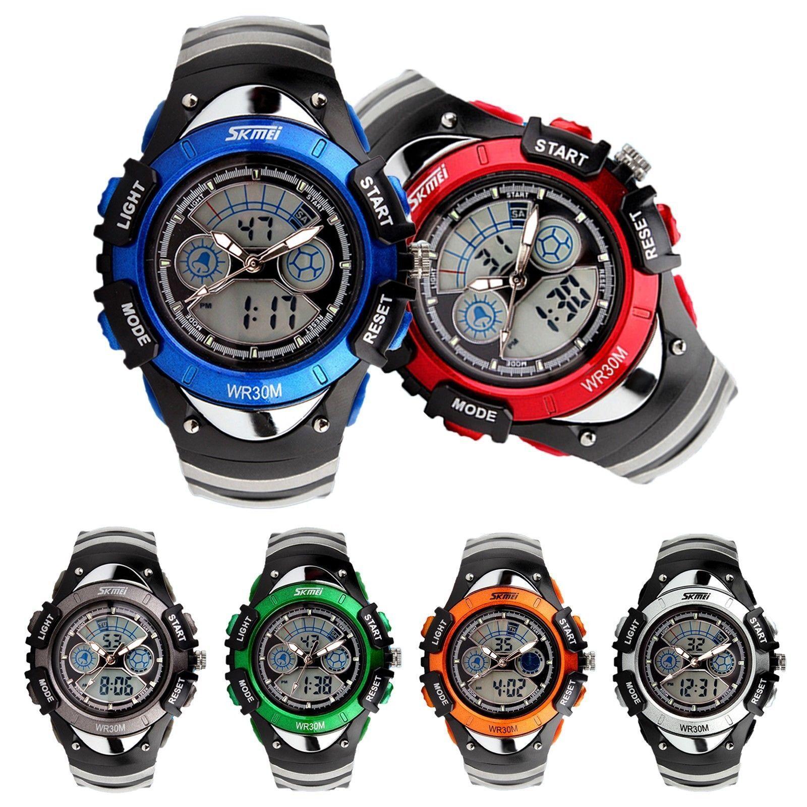 Fashion Teens Kids Sport Digital Alarm Analog Quartz Watch G