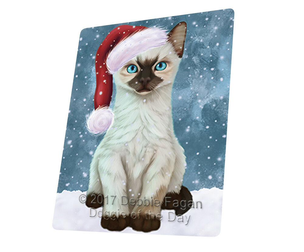 Let it Snow Christmas Holiday Siamese Kitten Cat Woven Throw Sherpa Blanket T31