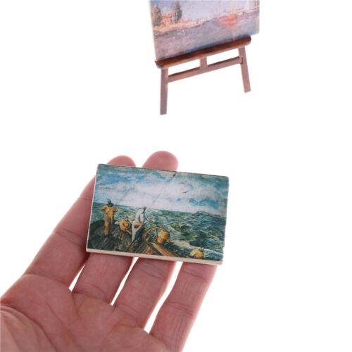 Puppenhaus Miniatur Zubehör Künstler Staffelei Stand /& 2 Holzmalerei Bilder JM