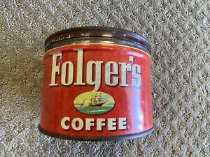 Vintage Folger's Coffee Tin Can 1 Pound Copyright 1952 w/lid