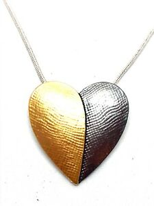 Two-Tone-Enamel-Heart-Pendant-Silver-Necklace-Grey-amp-Gold