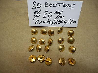 20 BOUTONS MILITAIRE METALLIQUES DORES Diamètre 25 mm FRENCH MILITARY BUTTON