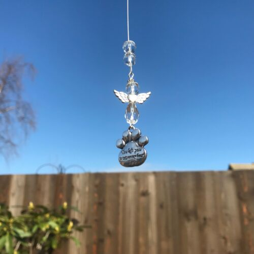 Nouveau Hanging Sun Catcher Pet perte Memorial ~ Clear ~ Angel et patte de charme message