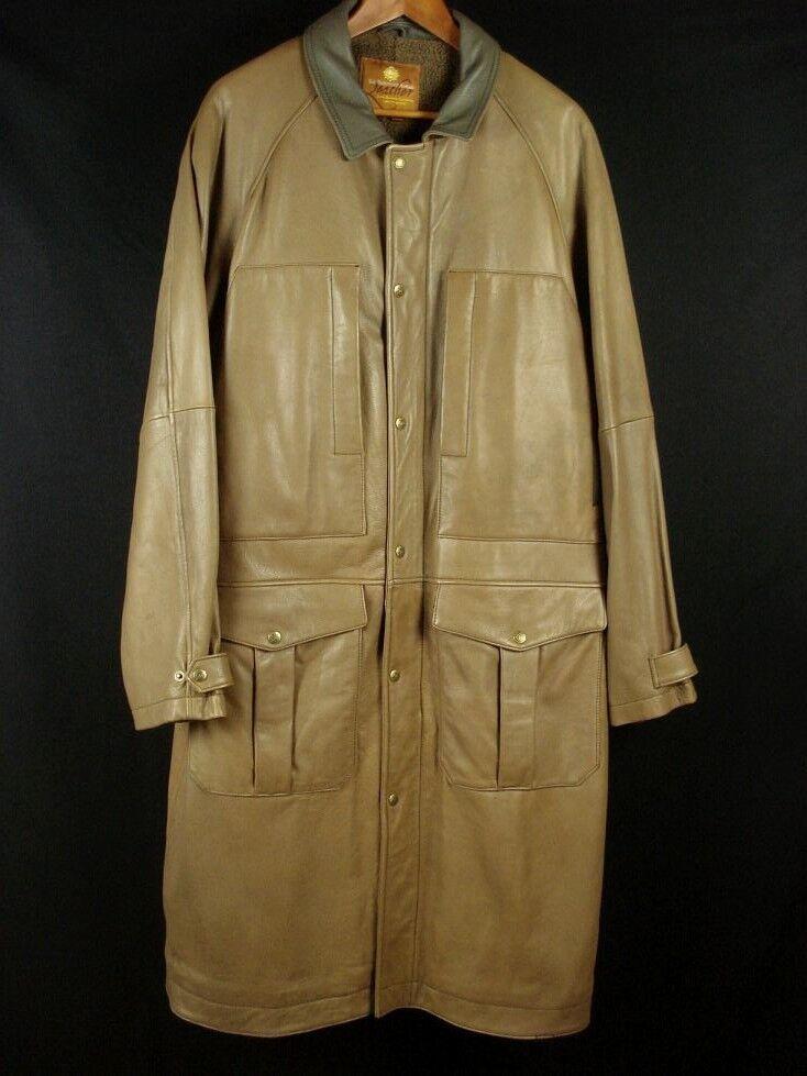 The TERRITORY AHEAD Genuine Leder Full Length Coat Overcoat Light Braun Sz XL