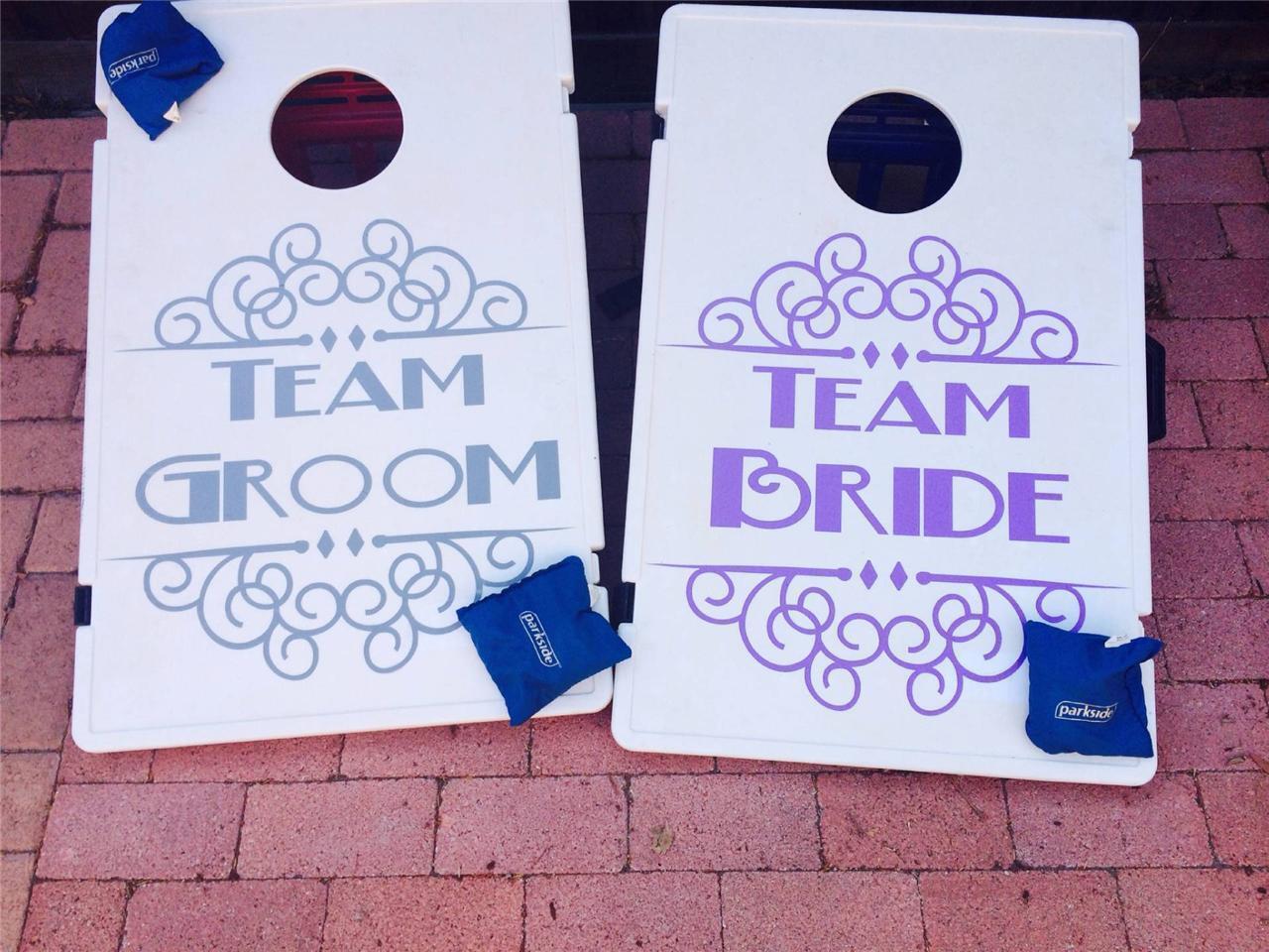 Wedding Decal for Cornhole Board   Groom & Bride   Corn Hole Game 20 x20  [CH1]