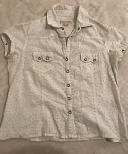 Beautiful-Michael-Kors-White-V-Neck-Down-Shirt-Blouse-Short-Sleeve-SZ-12-Polka