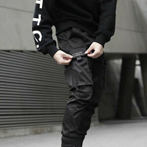 Fashion-Hip-Tactical-Men-Cargo-Hop-Street-Joggers-Pants-Harem-Black-Trousers
